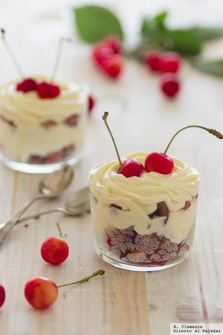 Cremoso de mascarpone y cerezas frescas