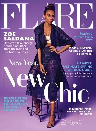 ¿Ha quedado claro que a Zoe Saldaña le gusta el morado?
