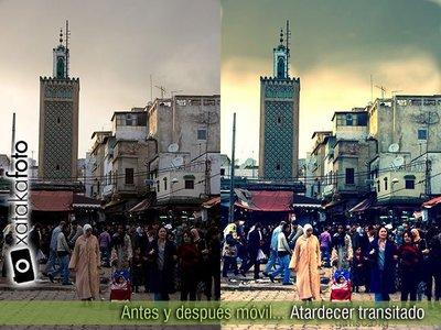 Antes y después móvil... Atardecer transitado