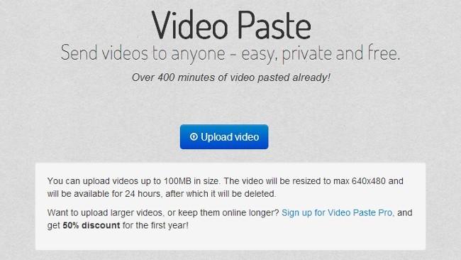 Pon online vídeos que se autodestruiran en 24 horas con Video Paste