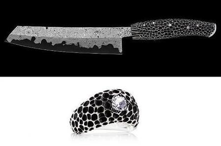 Cuchillo de lujo Nesmuk con diamantes ... y anillo