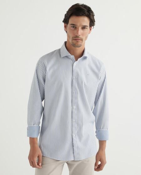 Camisa De Hombre Regular Sport Rayas Celeste