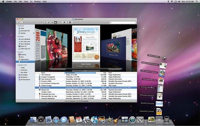 Vista del escritorio y iTunes de Mac OS X 10.5 Leopard