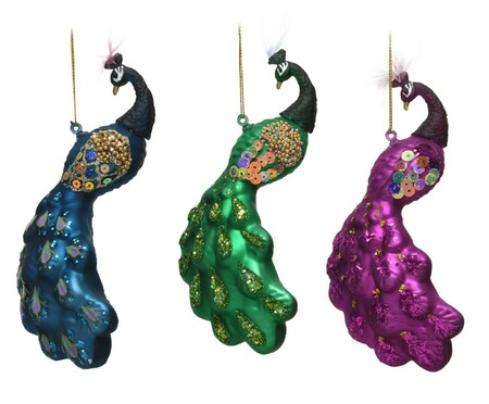 Set de 3 adornos colgantes Peacock