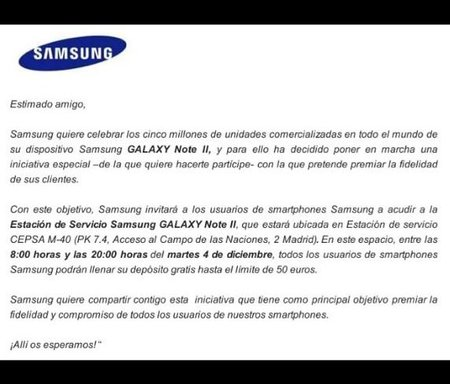 Actualizado: Llena el depósito de combustible ¡gratis! enseñando tu smartphone Samsung ¡sólo hoy!