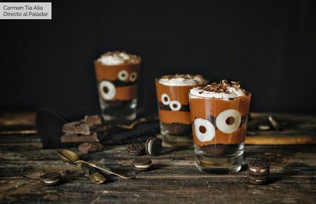 vasitos de mousse de chocolate halloween
