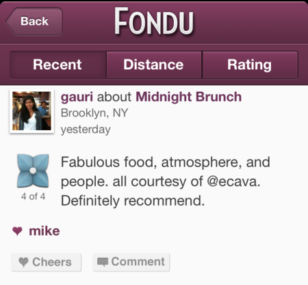 Fondu, el Foursquare para los amantes de la comida