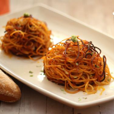 Crujientes espaguetis tostados en el horno, receta original de pasta