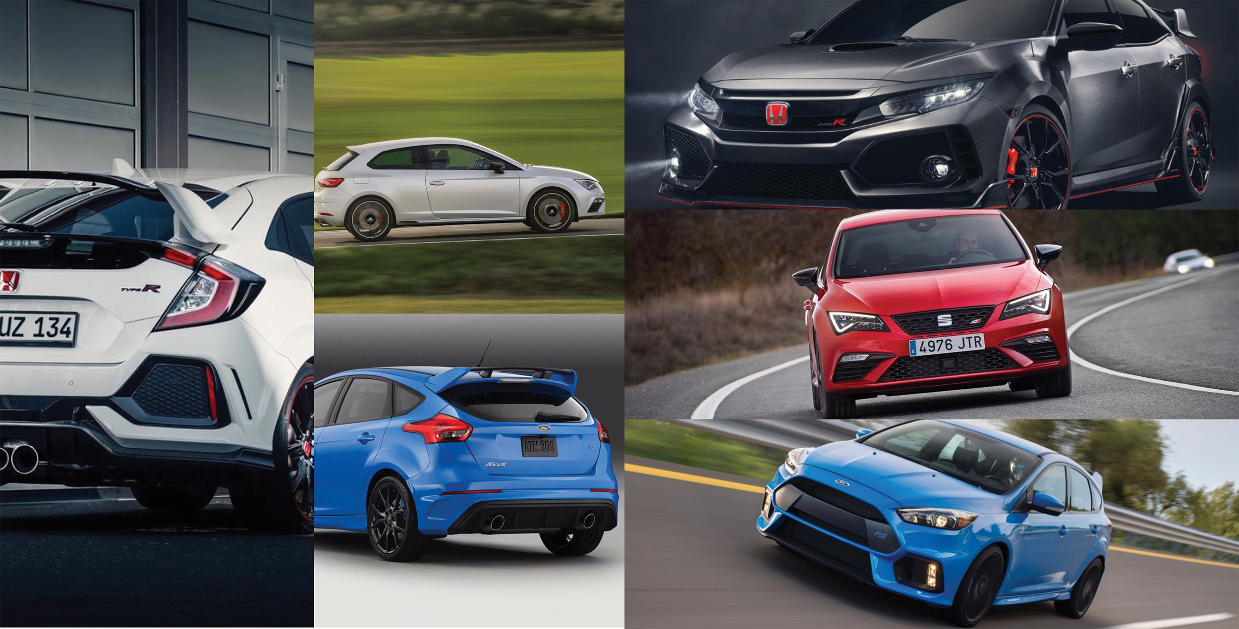 Honda Civic Type R vs. Ford Focus RS vs. SEAT León Cupra: Analizamos a los hot-hatches del momento