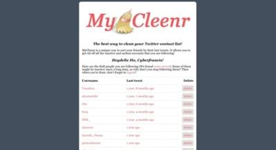 MyCleenr, elimina fácilmente usuarios de Twitter que ya no actualizan sus estados