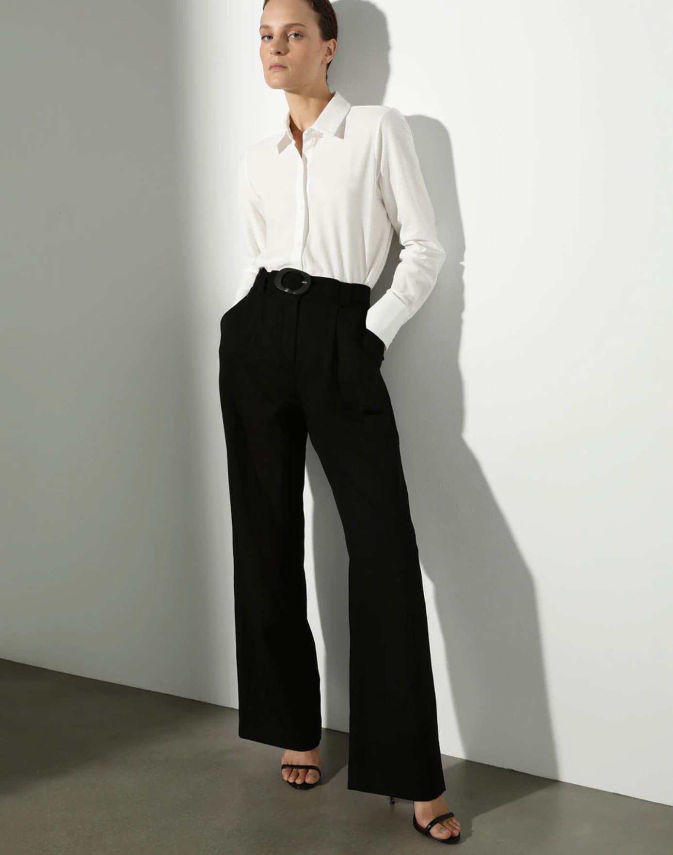 Pantalón amplio de mujer con lino