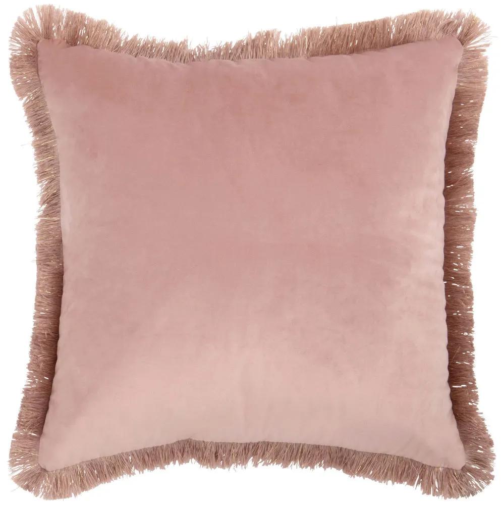 Cojín rosa con flecos