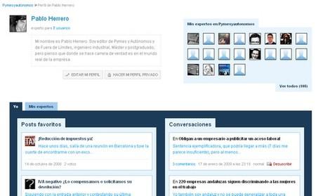 Nueva página de usuario en Pymes y Autónomos