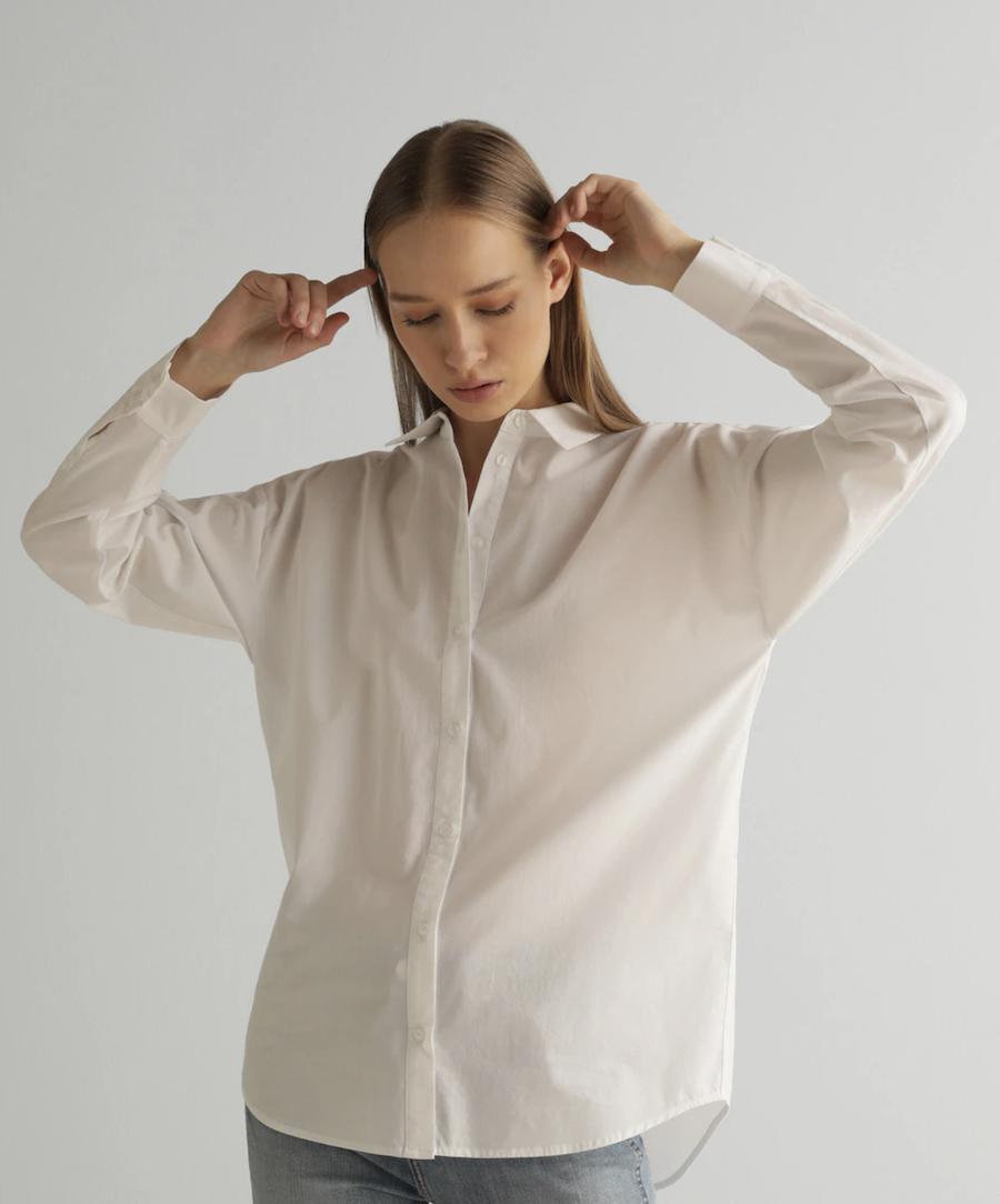 Camisa básica larga de mujer