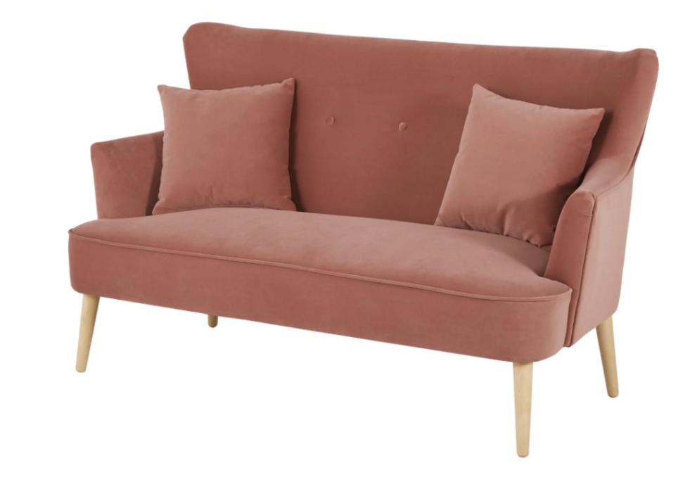 Sofá de 2 plazas de terciopelo rosa Leon