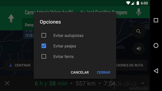 Maps Opciones Ruta