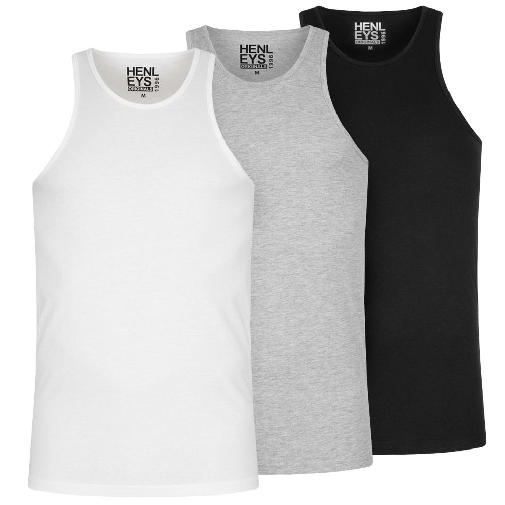 HENLEYS Pack de 3 Hombre Camiseta sin mangas