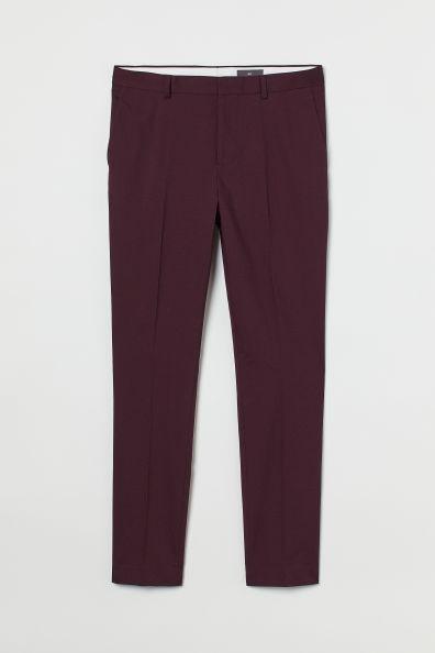 Pantalón de traje skinny fit color burdeos