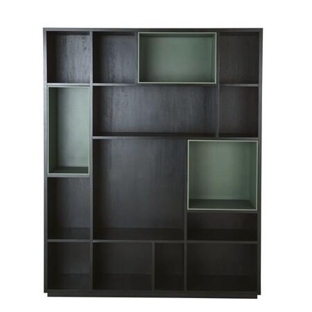 Biblioteca Con 4 Casilleros Extraibles Negra Y Verde 1000 9 37 199215 1