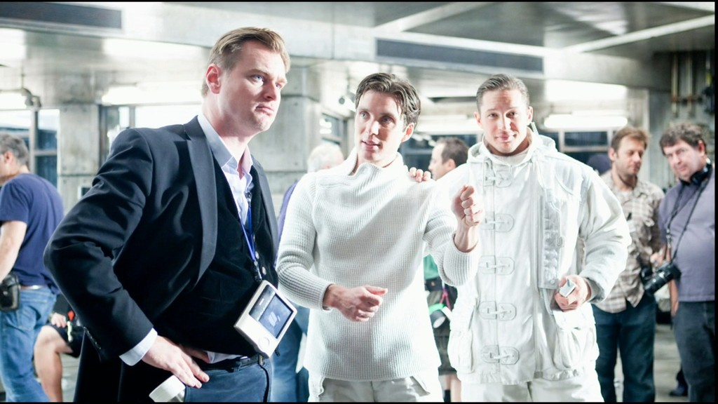 Christopher Nolan, Cillian Murphy y Tom Hardy en el rodaje de Origen