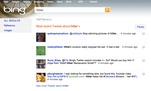 BingañadelosresultadosdeTwitter/Googletambiénlohará