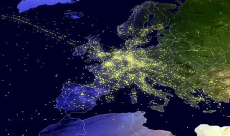 El tráfico aéreo europeo de un día, visto en menos de tres minutos