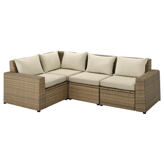 SOLLERÖN Sofá 3 esquina modular exter, marrón/Hållö beige