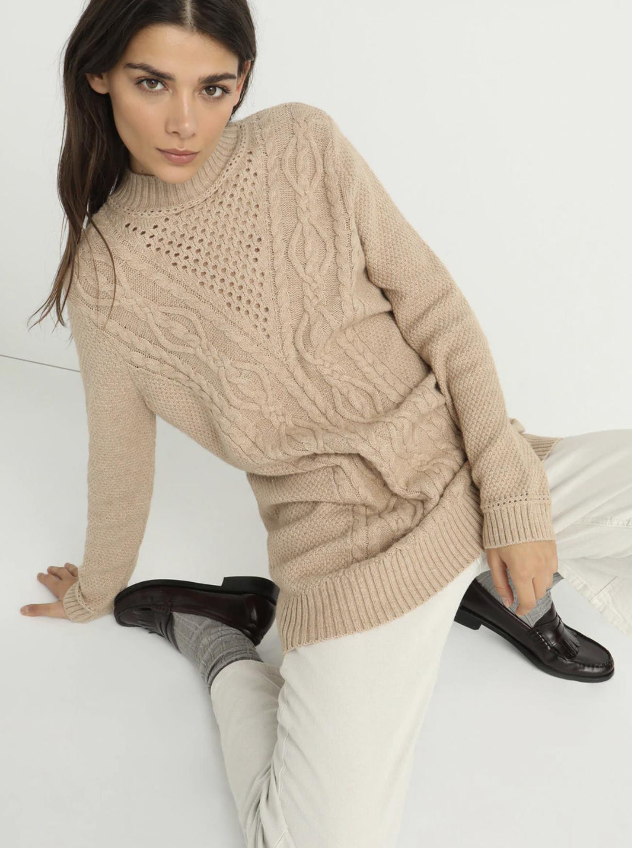 Jersey de mujer cuello redondo con alpaca