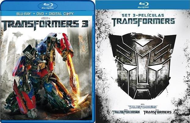 Imagen del bluray español de Transformers 3 y también del pack con la trilogía de Transformers