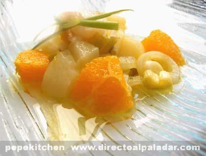 Ensalada de bacalao ahumado y naranja. Receta