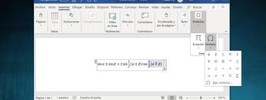 Cómo insertar símbolos matemáticos y ecuaciones en Word