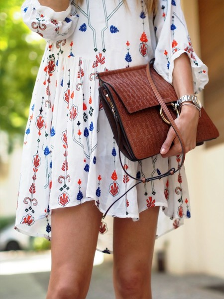 Valentino Look A Like Dress Retro Boho Hippie Zara Chloe Faye Bag