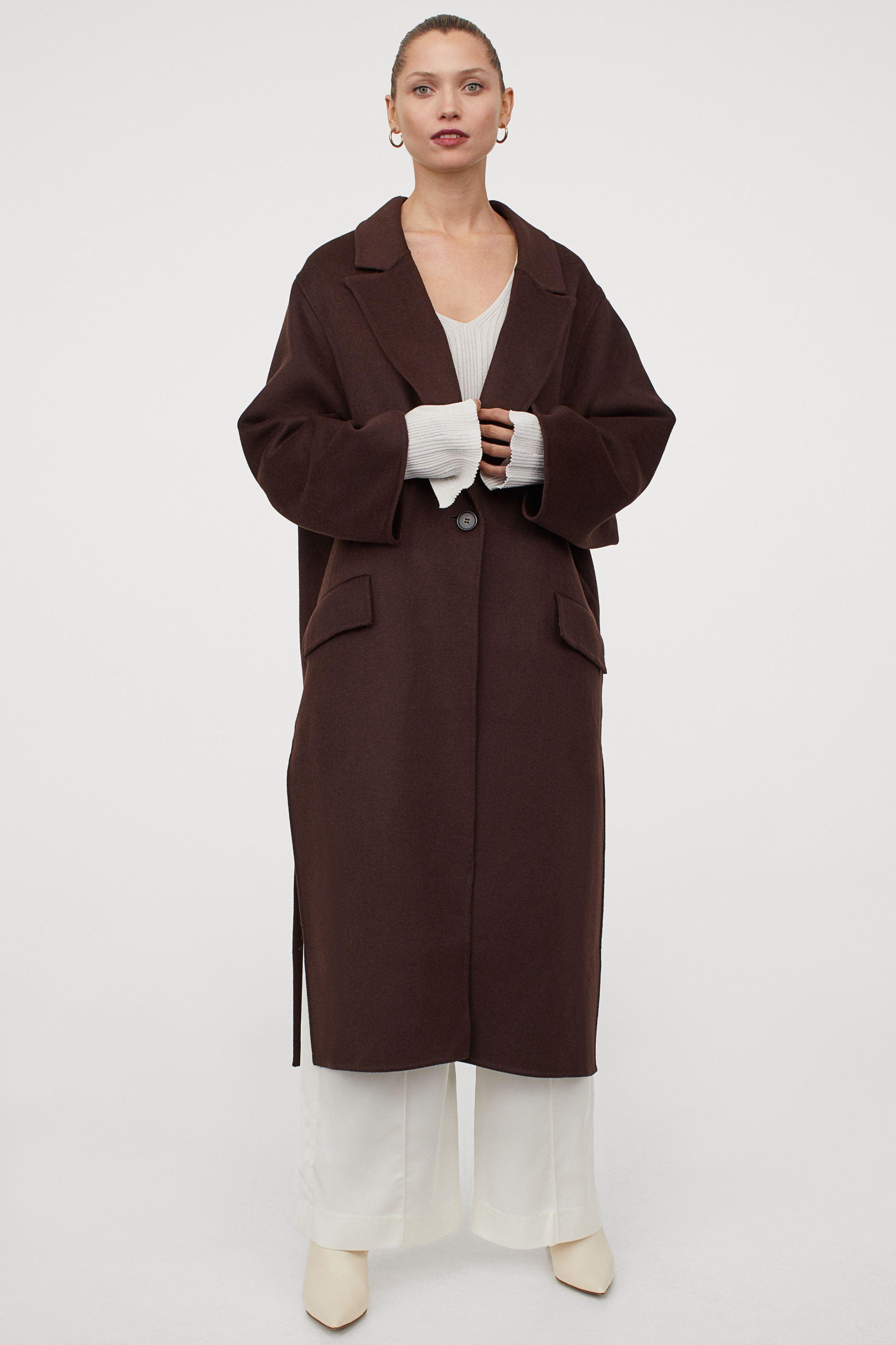 Abrigo oversize de lana marrón
