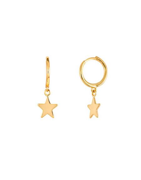Mini Aro Estrella Pendiente Oro