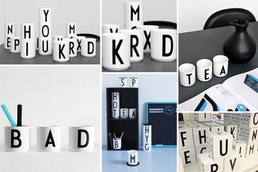 Tazas ilustradas con la tipografía de Arne Jacobsen