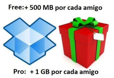 Dropbox duplica el espacio que ganamos con cada invitado, 500 MB para cuentas gratuitas y 1 GB para las Pro