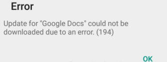 Error 194 Google® Play