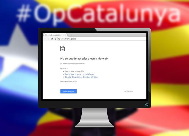 Web Defensa Hackeo Pantalla Cartel Opcatalunya