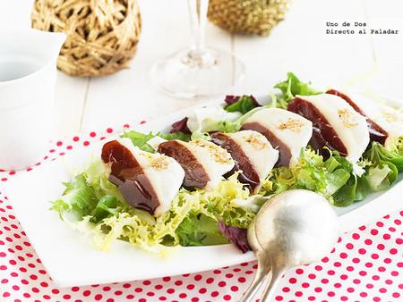 Ensalada de jamón de pato y mozzarella, receta de Navidad