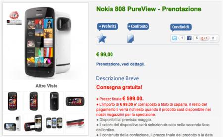 Nokia 808 PureView en reserva oficial en Italia: 599 euros