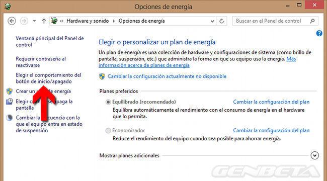 Configuración de opciones de energía en Windows 8