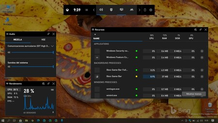 La Game Bar de Windows 10 recibe un monitor de recursos en forma de widget para optimizar el rendimiento de nuestro PC
