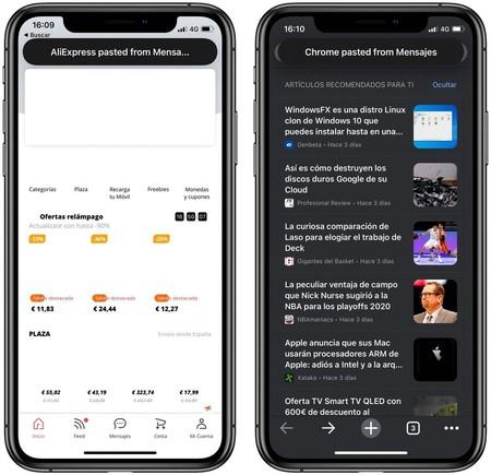 Ejemplo de los avisos que lanza iOS 14 cuando detecta que una aplicación ha accedido al portapapeles, ha copiado el contenido y lo ha pegado.