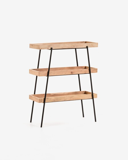 Estantería Basi 73 x 90 cm de madera maciza de acacia