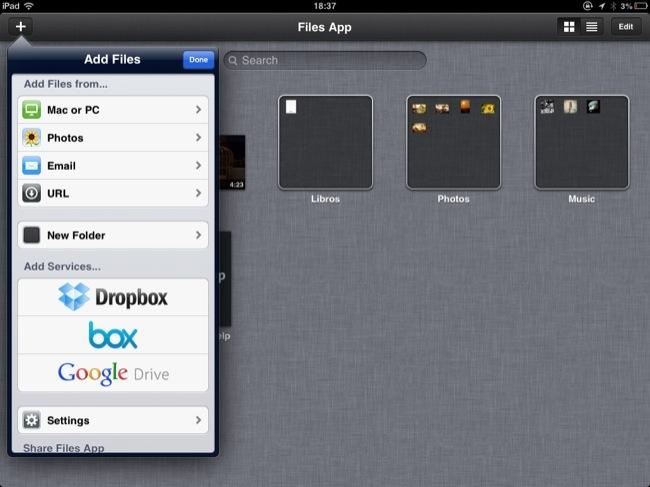 Estas son las opciones para agregar archivos desde o hacia Files App