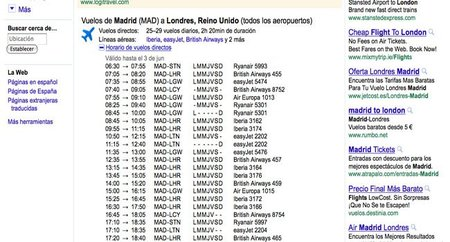 Google nos da los horarios de los vuelos directamente
