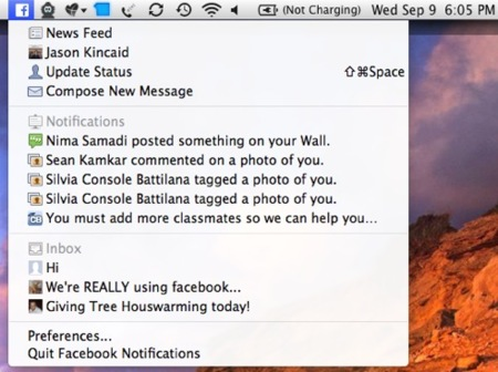 Facebook ofrece un notificador de escritorio para Mac OS X