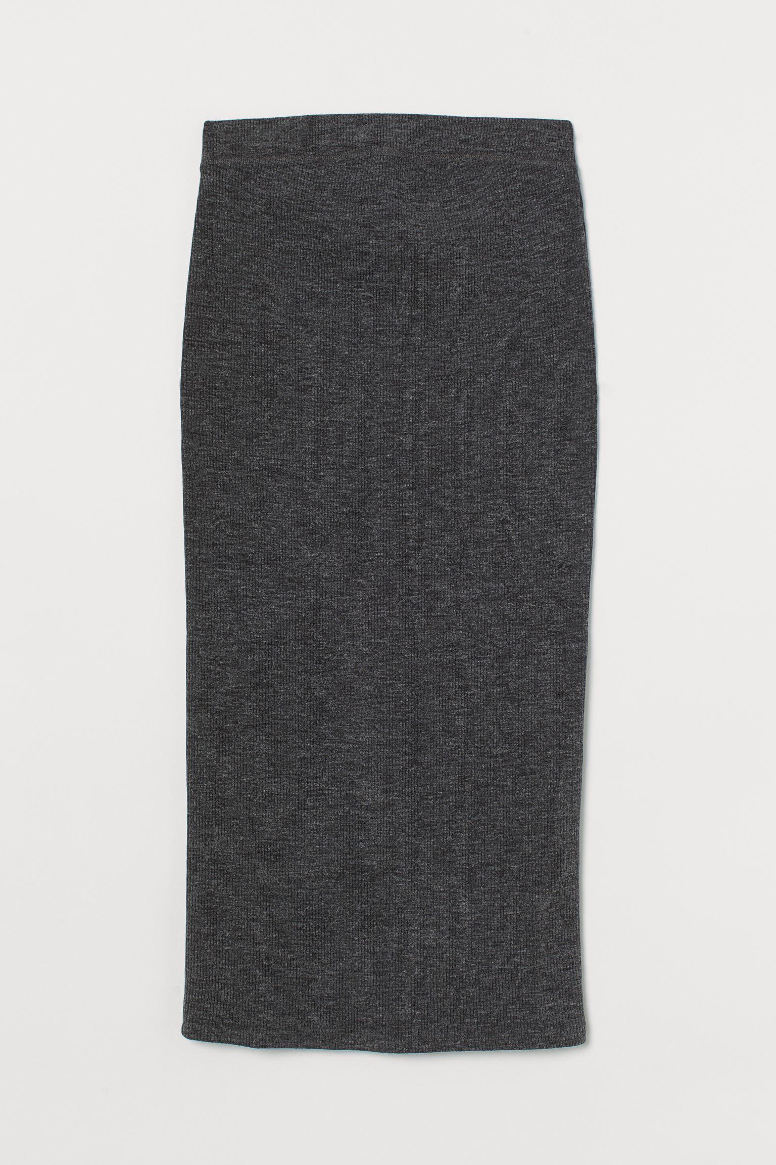 Falda midi ajustada de canalé