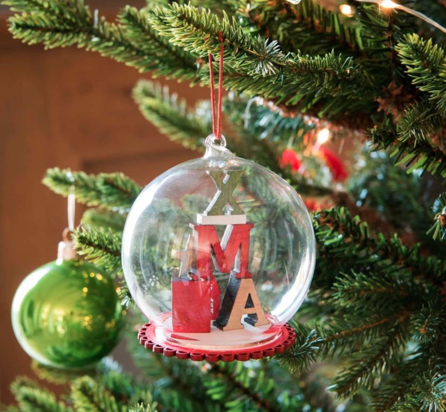 Bola de Navidad de cristal con decoración de letras multicolores (lote de 4 piezas)