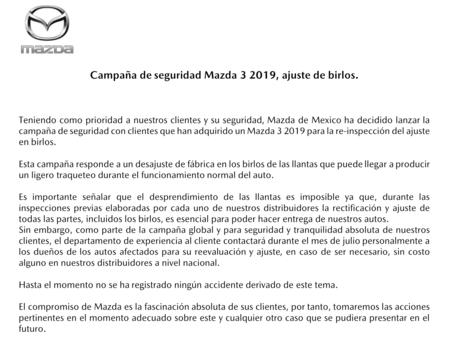 Comunicado Mazda